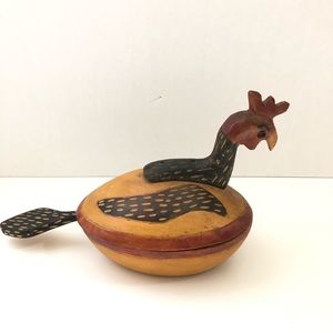 Accents - Rooster Container Bowl Lid Handmade Hand Carved